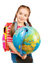 Girl holding a globe Royalty Free Stock Image