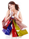 Girl holding group shopping bag. Royalty Free Stock Photo