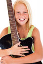 Girl holding guitar portrait of beautiful young preteen a on white background Stock Images