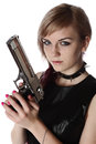 Girl holding gun Royalty Free Stock Images