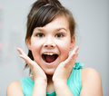 Girl is holding her face in astonishment cute Royalty Free Stock Images