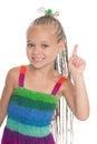 Girl holding index finger up