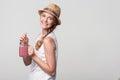 Girl holding jar tumbler mug with pink smoothie Royalty Free Stock Photo