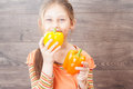 Girl holding a juicy vegetables little Stock Photo
