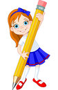 Girl holding pencil Royalty Free Stock Images