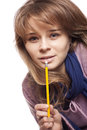 Girl holding a pencil Royalty Free Stock Photography