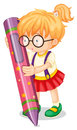 A girl holding pencil illustration of on white Royalty Free Stock Images