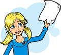 Girl holding a piece of paper blond young christmas wish list or an announcement or grade mark page is left blank for you to Stock Photography