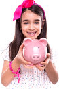 Girl holding a piggy bank young over white background Royalty Free Stock Image