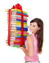 Girl holding pile of  book. Stock Photos