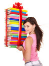 Girl holding pile of book. Stock Image