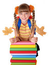 Girl holding pile of books. Royalty Free Stock Images
