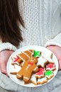 Plate with tasty gingerbread cookies