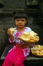 Girl holding Prawn crackers Royalty Free Stock Photo