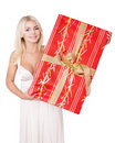Girl holding red  gift box . Stock Photo