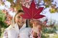 Girl holding red maple leaf in park in autumn smiling close up low angle view Royalty Free Stock Photography