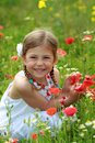 Girl holding a red poppy Stock Photo