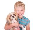 Girl holding a shih tzu dog Royalty Free Stock Photo