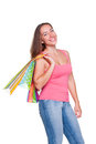 Girl holding shopping bags Stock Photography