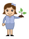 Girl holding a small plant vector conceptual drawing art of young pretty cartoon illustration Royalty Free Stock Photography