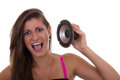 Girl holding speaker cute teen with open mouth Stock Images