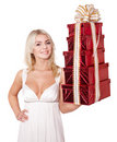 Girl holding stack  gift box. Royalty Free Stock Photo