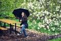 Girl Holding Umbrella, Garden Royalty Free Stock Photo
