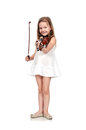 Girl holding violin isolated on white background Royalty Free Stock Photo