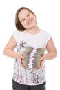 The girl holds a batch of money Royalty Free Stock Photo