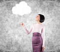Girl holds white cloud hand Royalty Free Stock Image