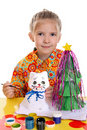 Girl with homemade toys Royalty Free Stock Photography