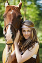 Girl with horse Royalty Free Stock Photography