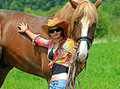 Girl with a horse beautiful on farm Stock Photography