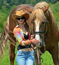 Girl with a horse beautiful on farm Royalty Free Stock Photo