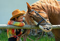 Girl with a horse beautiful on farm Royalty Free Stock Images