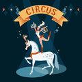 Girl on horse circus show illustration dancing a white Royalty Free Stock Photos