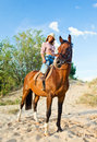 Girl with horse in forest Stock Photos