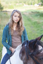 Girl on horse a teenager riding bareback an icelandic Royalty Free Stock Image