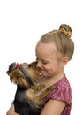 Girl hug a little yorkshire terrier puppy isolated on white Royalty Free Stock Images