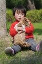 Girl hug puppy Royalty Free Stock Photo