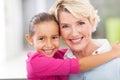 Girl hugging grandmother beautiful young her senior Stock Photo