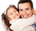 Girl hugging her father Royalty Free Stock Image