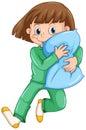 Girl hugging pillow at slumber party