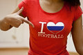 Girl with I love Football t-shirt Royalty Free Stock Photo