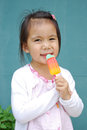 Girl and ice cream asian fruit Stock Photography