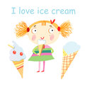 Girl with ice cream funny little on white background Stock Photo