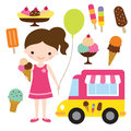 Girl with an ice cream illustration of a holding Royalty Free Stock Photos