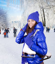 Girl with ice skate. Stock Photography