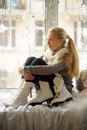The girl with ice skates Royalty Free Stock Photo