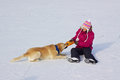 Girl on ice skates with dog Stock Photos